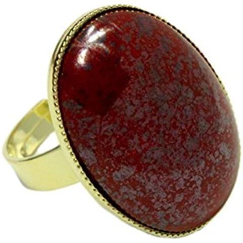 24K Chapado en Oro Anillo Clásico Universal Ajustable Tamaño Oval 25mm x 18mm de Terracota de Plata de la Coral Rojo de Cristal checo de Piedra hechos a Mano