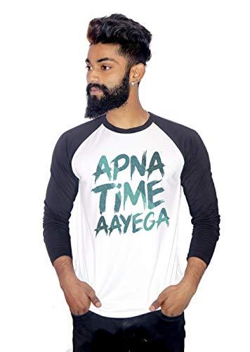 Canis Men's Polyester Blend Apna Time Aayega Raglan/Crew Neck Full Sleeve T-Shirt (Black and White, X-Large)