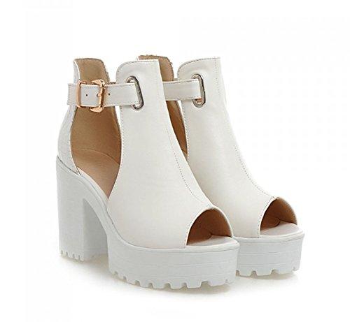 Aisun Femme Mode Bride Cheville Plateforme Bout Ouvert Sandales Blanc