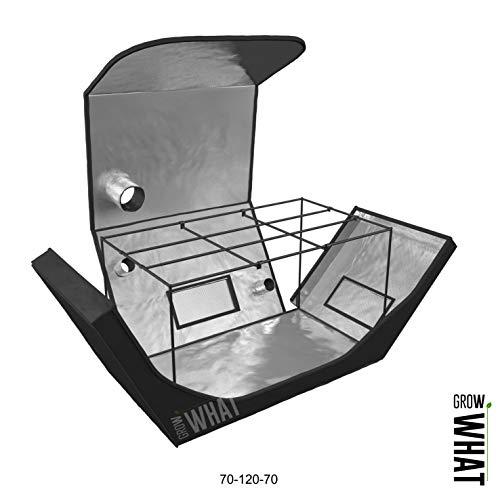 Tenda da Coltivazione per Interni ed Esterni, Kit Portatile per Coltivazione idroponica, 70 cm x 120 cm x 70 cm, Colore: Nero, Sistema di Crescita Prodigy Growing System Box Fan Diamond Mylar