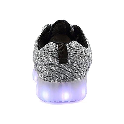 TULUO LED-leuchtende Schuhe Jungen-Mädchen-Frühlings-Sommer-Turnschuhe beiläufige Turnschuh-Paar-Schuhe [7 Farben] Grey