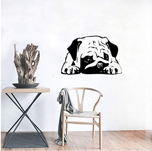 42X65cm Schlafen Hund Wandtattoo Welpen Mops Vinyl Aufkleber Niedlichen Tiere Wohnkultur Ideen Zimmer Interior Schlafzimmer Design Wandkunst