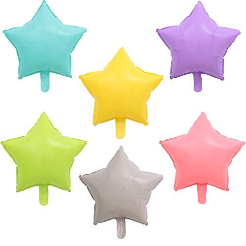 PuTwo Folienballon Stern, 24 Stück 18 Zoll Folienballons Satz von Folienballon Sternzeichen Folienballon Pastell in 6 Pastellfarben, Riesen Helium Folienballons für Stern Taufe, Stern Party