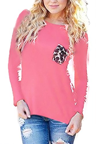 Frauen Ist Sommer Leopard Patchwork - Chiffon Langarm - T - Shirt Pink
