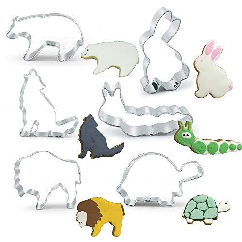 Backform 6-tlg Eisbär Hase Wolf Raupe Löwe Schildkröte Ausstecher Kuchenform aus Edelstahl