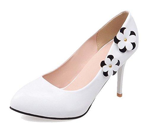 VogueZone009 Donna Tacco Alto Puro Tirare Pelle Di Maiale Scarpe A Punta Ballet-Flats Bianco