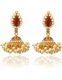 2ee04a274 Vavlet Store Kundan Jhumkas For Women Traditional Pearl Jhumki For Women  Gold And Pearl Earrings For Women Traditional Gold Earrings…