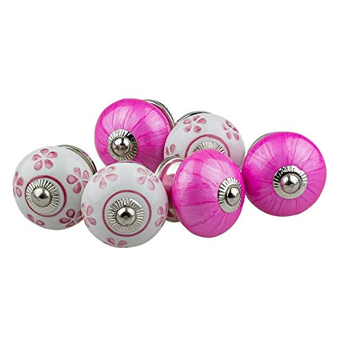Möbelknopf Möbelknauf Möbelgriff Set Nr.0192 6er rosa pink weiss Keramik Porzellan handbemalte Vintage Möbelknöpfe...