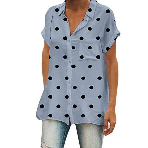 Womens Casual Tops V-Ausschnitt Kurzarm Loose Fit Button up Blusen Tupfenmuster Tunika Tops Einfarbig Polo Shirts mit Einer Tasche für Frauen Damen -