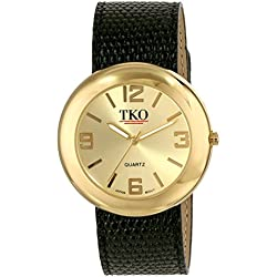 TKO ORLOGI Women's TK616-GBK Gold Black Leather Slap Watch