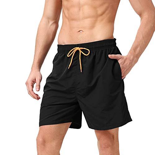 anqier Badeshorts für Männer Badehose für Herren Jungen Schnelltrocknend Schwimmhose Strand Shorts,Schwarz,S(EU)-MarkeGröße:M-Taille 76-84cm