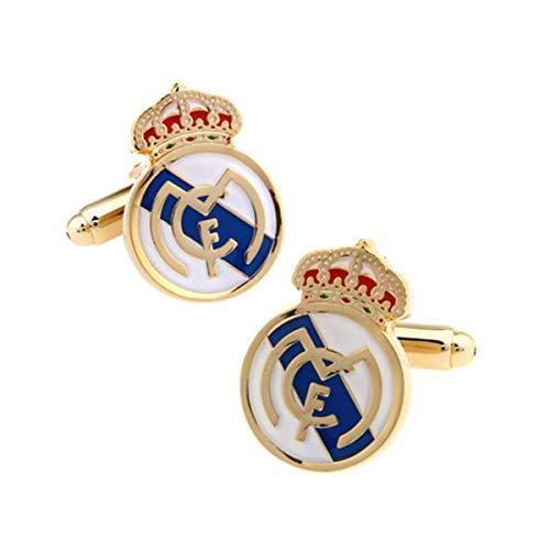 LYXPUAH Sport Fußball Real Madrid Blau Rot Farbe Manschettenknöpfe Manschettenknöpfe-Urlaub Geschenke
