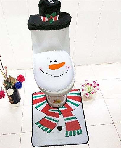Lxj Christmas Snowman WC Set + Matten + Wasser-Tank-Cover + Gewebe Set WC dreiteilige Set Weihnachten (Ornament Wc Christmas)