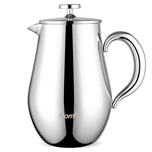 HOMFA French Press 1 Liter Kaffeebereiter doppelwandig mit Warmhaltefunktion Kaffeekanne aus...