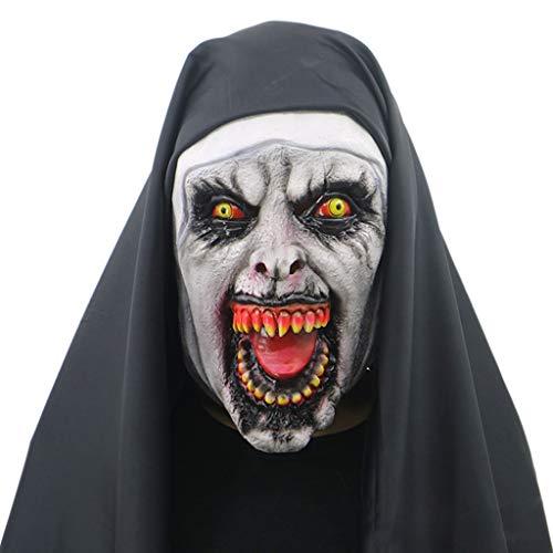 Kathope Nonne Horror Maske Mit Kapuze Voller Kopf Scary Horrible Halloween Party Cosplay Kostüm Requisiten - Nicht Scary Kostüm Für Erwachsene