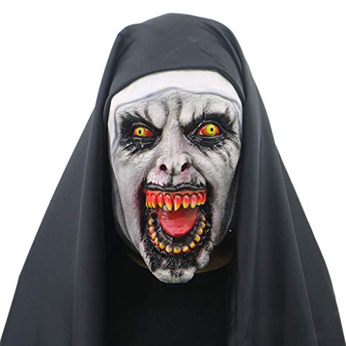 Kathope Nonne Horror Maske Mit Kapuze Voller Kopf Scary Horrible Halloween Party Cosplay Kostüm Requisiten - Nonne Kostüm Mit Maske