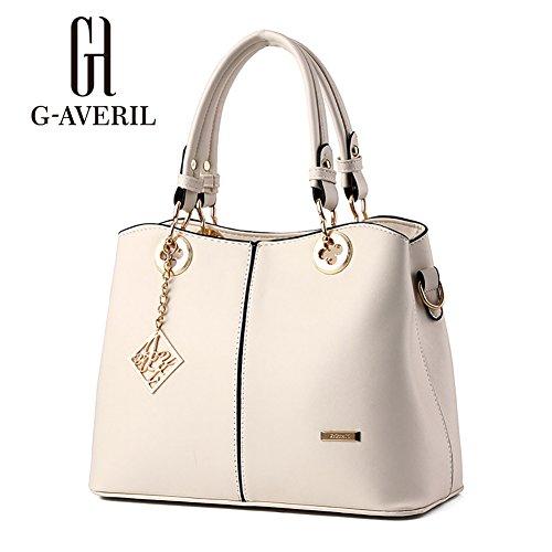 (G-AVERIL)Donne Boutique moderno ed elegante maniglia superiore borsa del messaggero della borsa della spalla del Tote casuale del lavoro Bauletto Rosso beige