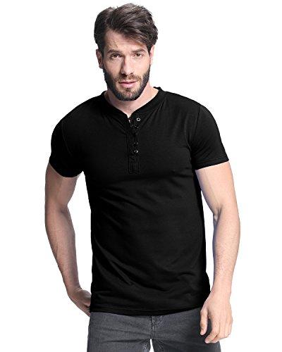 MODCHOK Men's T Shirts Short Sleeve Henley Shirt V Neck Button Casual Tops Slim Fit