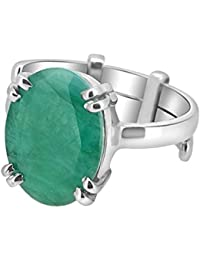 Silver Ring Emerald Panna Stone 92.5 Sterling Silver Adjustable Ring By Arihant Gems And Jewels - B077QC5DW4