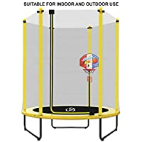 LANGXUN 5ft Indoor Kids Trampoline with Basketball Stand and 180cm Safety Enclosure, Safe Baby Trampoline & Toddler Trampoline, Suitable for children aged 1-7