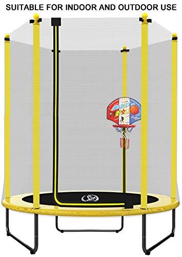 LANGXUN Dia 150 x H 180 cm Trampolín Amarillo con Soporte de Baloncesto, Caja de Seguridad de Red, Uso Interior / Exterior para niños, Ideal para cumpleaños