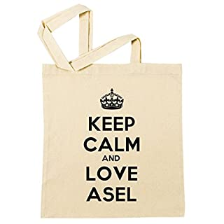 Erido Keep Calm and Love Asel Einkaufstasche Wiederverwendbar Strand Baumwoll Shopping Bag Beach Reusable