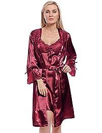 BellisMira Women s Satin Robe Silk Dressing Gown Lace Pyjamas Long  Nightdress Sexy Ladies Bathrobe Sleep Slip 5b3f3e599
