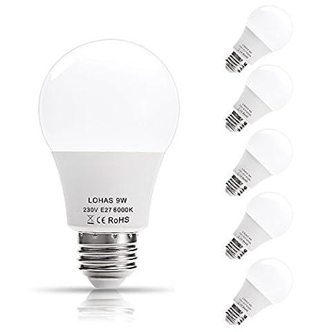 LOHAS 9Watt A60 E27 Lot de 5 Ampoule LED, 60Watt Ampoule à Incandescence Équivalent, 810lm, Blanc Froid, 6000K, 240° Larges Faisceaux, Ampoule LED E27, Culot E27 [Classe énergétique