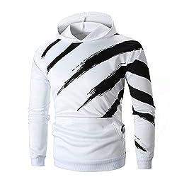 KPILP Herrenmode Herbst Langarm-Shirt Gestreift gedruckt Kapuzenpullover Kapuzenpulli Oben T-Shirt Outwear(Weiß, L