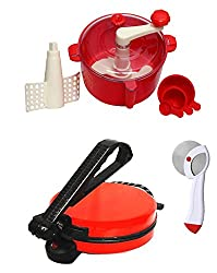 GTC COMBO OF RED ROTI MAKER, RED DOUGH MAKER AND PIZZA CUTTER