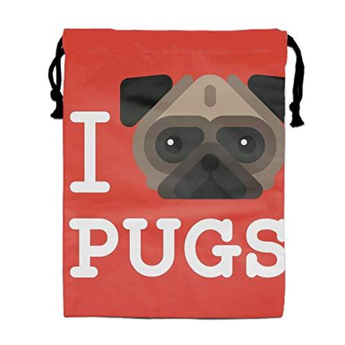 Hipster Pug Dog Pet Turnbeutel Bag - Travel, Beach, Poolside, Gym, Cheerleading, Dance, Gymnastics