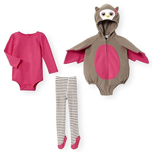 süße Eule Baby Mädchen Kostüm Outfit Body + Strumpfhose + wattierter Hoodie Body (3-6Mon 62-68)