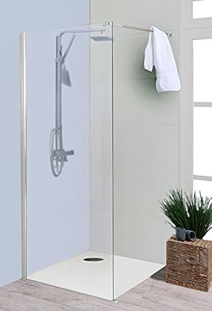 glaswand dusche 30x200 cm dusar walk in palladium neo 8 mm duschwand duschabtrennung duschkabine offen mit stabilisator auch andere gren verfgbar - Glaswand Dusche Walk In