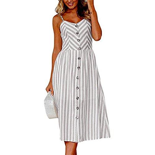 Bringbring Women Stripe Buttons Off Shoulder Sleeveless Summer Dress
