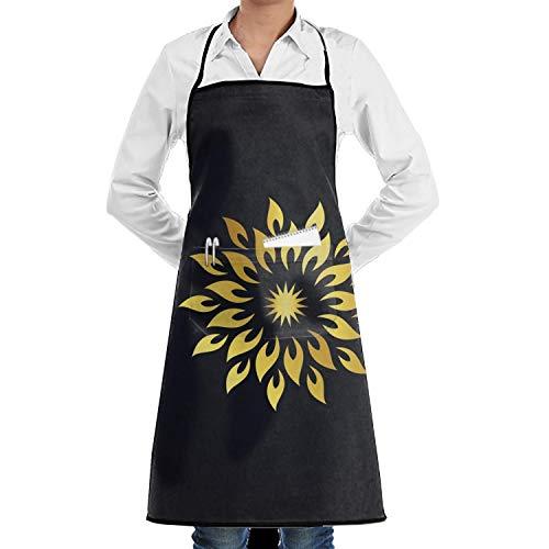 for Women and Men Funny Vegan Chef Küche Cooking and Baking Schürze Gold Star Circle Bib Schürze High Waist Schürze ()