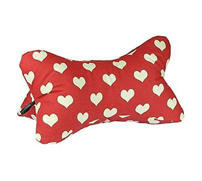 Lesekissen Bücherkissen Leseknochen Strandkissen Yogakissen Nackenkissen Herzen rot beige 40 x 20 x 20 cm von Beletage HM