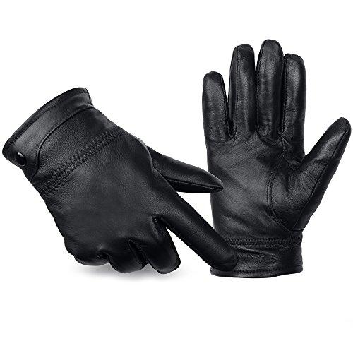 ANVEY Herren Winter Lederhandschuhe Warm gefütterte Handschuhe aus 100% Leder Schwarz M