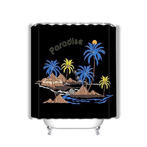 BAOLANZHANG Shower Curtain Beautiful Summer Island Relax Vibes Palm Tree Ocean Wave Mountain Beach designhirt Fashion Cover Web All 60 * 72 inch