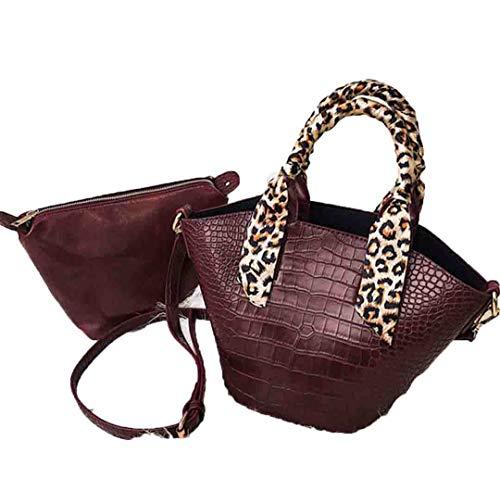 Damen Handtaschen Leder Messenger Bags Leaopard Schal Umhängetaschen Designer Bucket Tote Bag WineRed -