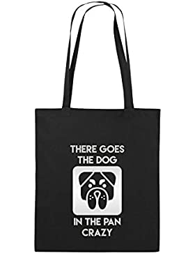 Comedy Bags - THERE GOES THE DOG IN THE PAN CRAZY - Jutebeutel bedruckt, Baumwolltasche zwei lange Henkel aus...