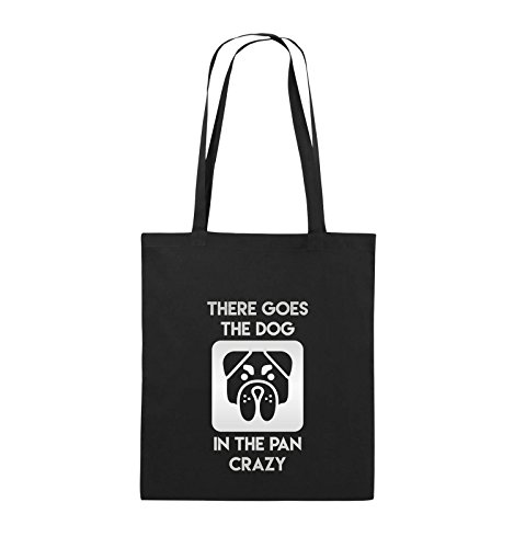 Comedy Bags - THERE GOES THE DOG IN THE PAN CRAZY - Jutebeutel - lange Henkel - 38x42cm - Farbe: Schwarz / Silber Schwarz / Silber