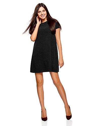 Stadt-stil Kleid (oodji Ultra Damen A-Linie-Kleid Gerippt, Schwarz, DE 42 / EU 44 / XL)