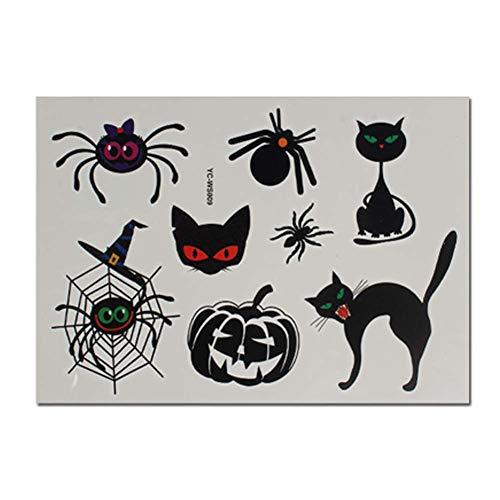 4 Blatt Cartoon Spinne Katze Kürbis Halloween Tätowierung Aufkleber für Kinder Cosplay Kostüm Party (Koala Kinder Kürbis Kostüm)