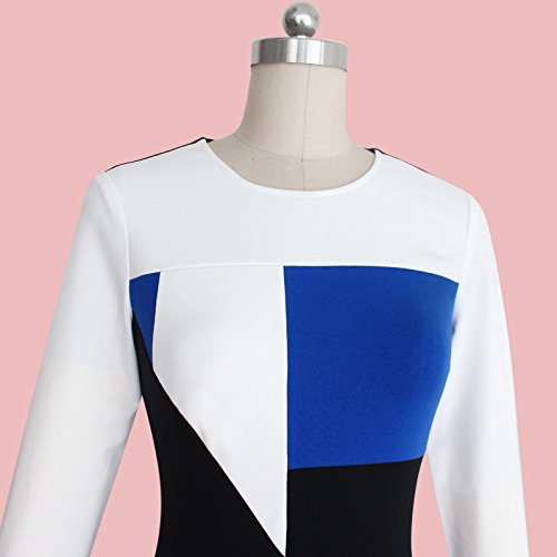 KingField - Robe - Crayon - Femme Multicolore Multicolore Medium Blanc - White/Blue/Black