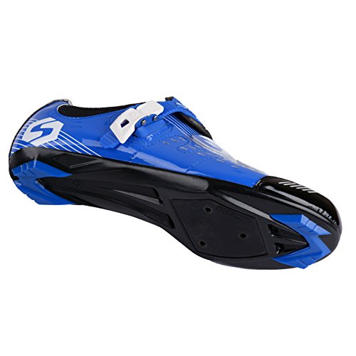Herren/ Mann Professionelle Radschuhe Rennrad Fahrradschuhe EU Größe 41 Ft 25.5cm Blau/Schwarz (Wählen Sie eine Größe mehr als üblich) - 6