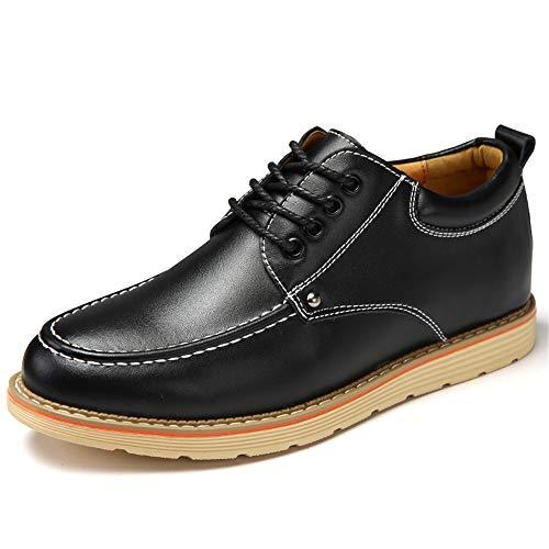 Y-WEIFENG New Männer Oxfords Elevator Schuhe Höhe zunehmender PU Leder Schnürverschluss (Color : Schwarz, Größe : 43 EU)