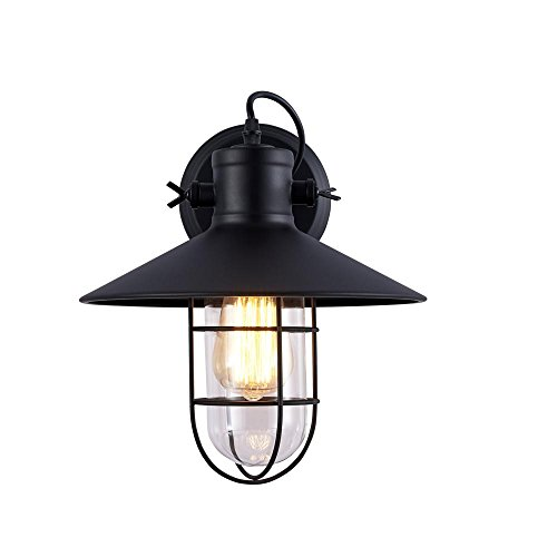 Plug-in Swing-wand-lampe (Lonfenner Retro-Wand Lampe Wand Lampe industrielle Zink Eisen Wand Lampe Lampe Schwarzgold Wall Wandleuchte 31 * 30cm)
