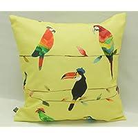 Kissenhülle/Kissenbezug 40 cm x 40 cm, safran, mit Papageien, aus reiner Baumwolle