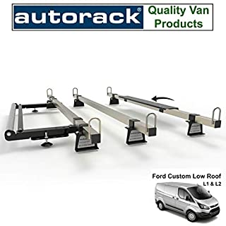 Van Roof Rack 3 Bars With Rear Roller - for FORD TRANSIT CUSTOM (2012-onward) - AutoRack Construction Grade