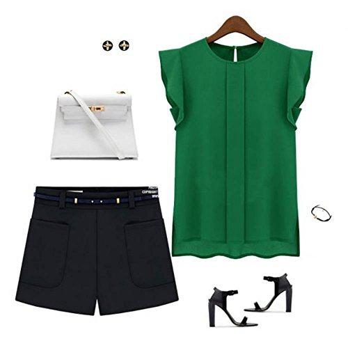 Etosell Sexy courte en mousseline Leisure T-shirt chauve-souris hauts chemisiers Vert - Vert